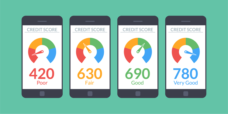 4 phones with 4 different credit scores on their screens. Improving from left to right, the credit scores go from poor to very good.