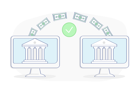 On two computer screens, a transfer of money is approved between two banks, companies, or accounts. Moving money around to fix a bad credit score.